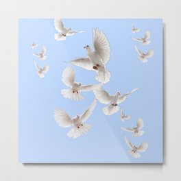 WHITE PEACE DOVES IN SKY BLUE COLOR Metal Print