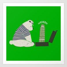Traveler Tourist Tower of Pisa Bear Italy Art Print