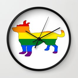 Rainbow Chihuahua Wall Clock