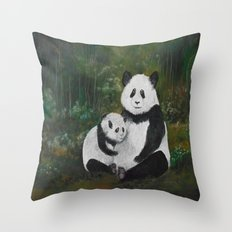 Panda Momma and Baby Throw Pillow