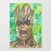 groot Canvas Prints featuring Groot by Makenna Raye
