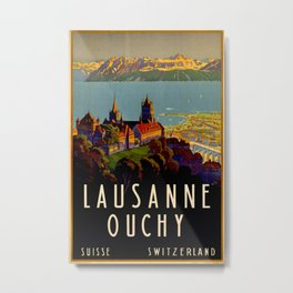 Lausanne Ouchy Vintage Travel Poster Metal Print