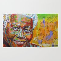 mandela Area & Throw Rugs featuring nelson mandela by yossikotler