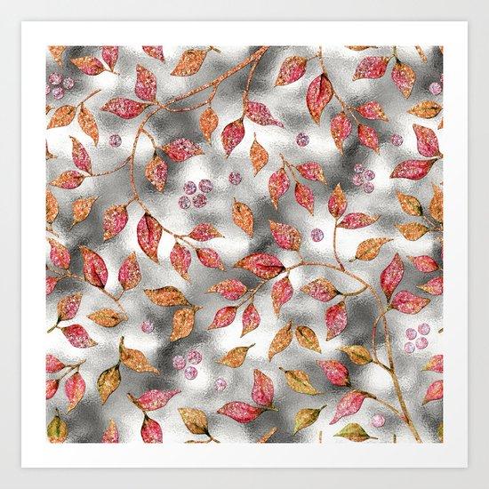 Autumworld- Sparkling pink  glitter leaves on silver background #Society6 Art Print