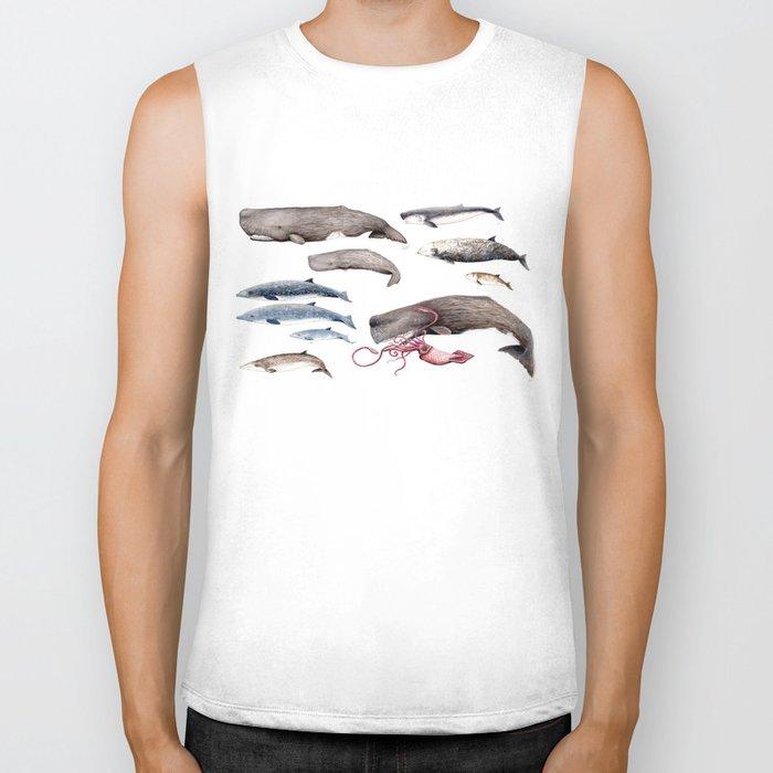 Deep sea whales Biker Tank