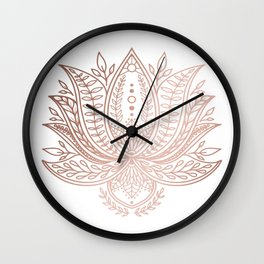 Botanical Lotus - Rose Gold Wall Clock