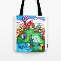 animal crossing Tote Bags featuring Animal crossing invasioni  by Cristina Lunat Sugamele