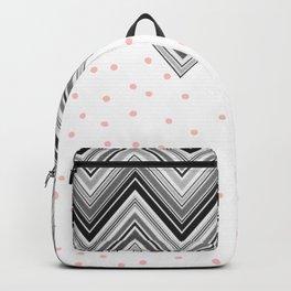 Geometrical black blush pink polka dots chevron Backpack