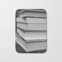 Stack of Books (in black and white) Bath Mat