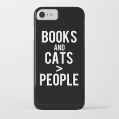 Books, cats > people! - Black and white iPhone 7 Slim Case