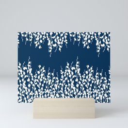 Pussywillow Silhouettes — Midnight Blue Mini Art Print