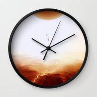 bruno mars Wall Clocks featuring Mars Diving by Stoian Hitrov - Sto