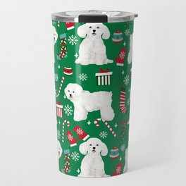Bichon Frise Christmas dog breed pattern mittens stockings presents dog lover Travel Mug