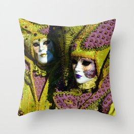 Glamorous Couple With Carnival Costumes Throw Pillow