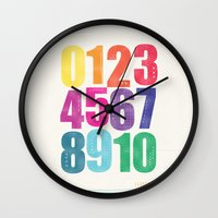 numbers Wall Clocks featuring Numbers by Laura Flowerday (PaperCrane)