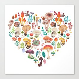 Mushroom heart Canvas Print