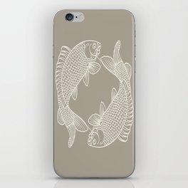 Gray Grey Alabaster Koi Fishes iPhone Skin