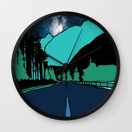 Highway at Night Wall Clock