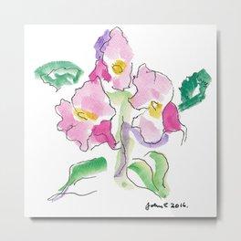 Pink Nasturtiums by artist John E. Metal Print