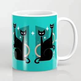 Fashionable Felines Atomic Age Black Kitschy Cats Coffee Mug