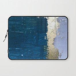 Rain [1]: a minimal, abstract mixed-media piece in blues, white, and gold by Alyssa Hamilton Art Laptop Sleeve