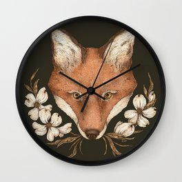 The Fox and Dogwoods Wall Clock