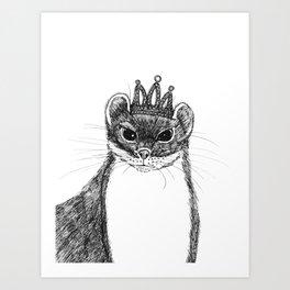 flapper weasel wearing a glittering tiara Art Print