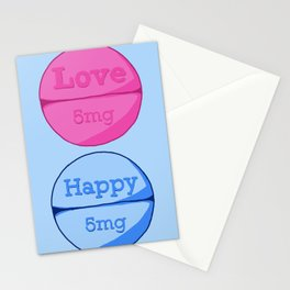 Love Happy Pill Blue Stationery Cards