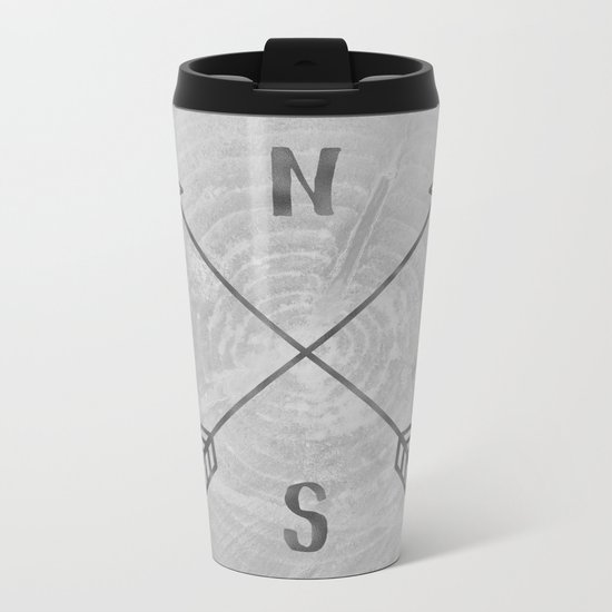Compass Black and White Tree Metal Travel Mug