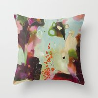 "flora bowley Throw Pillows featuring ""Deep Embrace"" Original Painting by Flora Bowley by Flora Bowley"