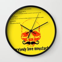 moustache Wall Clocks featuring Moustache by morganPASLIER