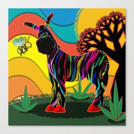 Zapped Zebra Zing has a Flying Visitor Canvas Print