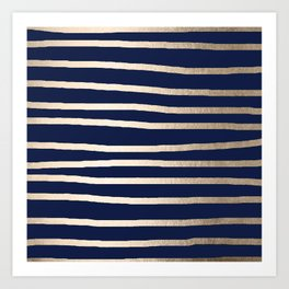 Drawn Stripes White Gold Sands on Nautical Navy Blue Art Print