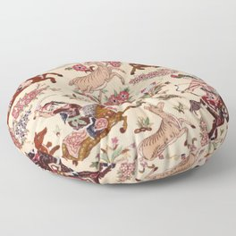 Hunting Rug Vintage Persian Pictorial Print Floor Pillow