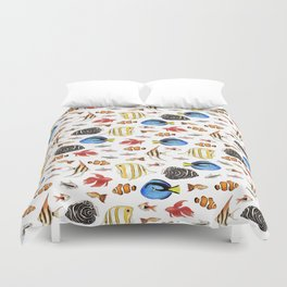 Tropical Fish on White - pattern Duvet Cover