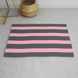 Hot Pink Stripes on Gray Background Rug