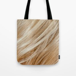 Wavy blonde woman hair background and texture Tote Bag