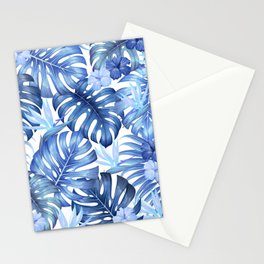 Blue tropical pattern  (monstera leaves and bird of paradise flowers Stationery Cards