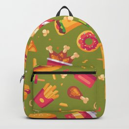 Junk Food Pattern on Vintage Avocado Green Backpack
