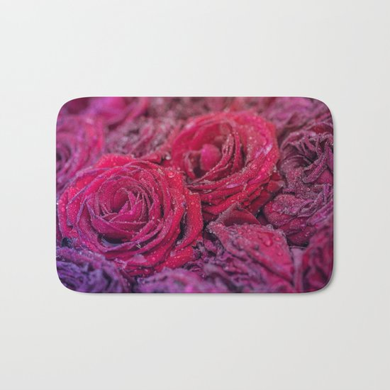 Bed of darkred roses - Red rose bunch Bath Mat