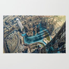 On top of the world, Burj Khalifa, Dubai, UAE Rug