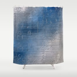 Silver music Shower Curtain