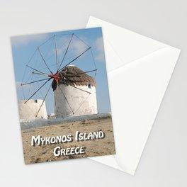 Stone Windmill on Mykonos Island Greece Stationery Cards