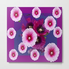 PURPLE PINK HOLLYHOCKS MODERN ART Metal Print