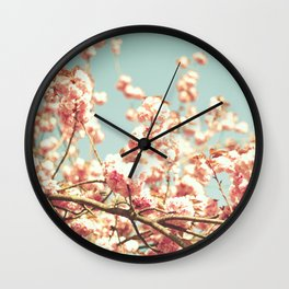 Dusty pink cherry blossoms ver mint sky Wall Clock