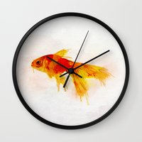 goldfish Wall Clocks featuring Goldfish by emegi