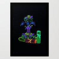 Cake & Flowers Water Color Print Art Print