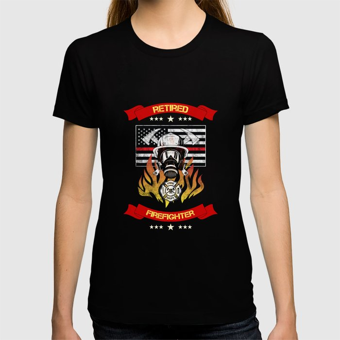 Retired Firefighter Thin Red Line Professional Hero Retirement Gift T-shirt