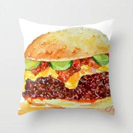 Bacon Double Cheeseburger Throw Pillow