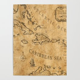 Old Nautical Map Carribeans Poster